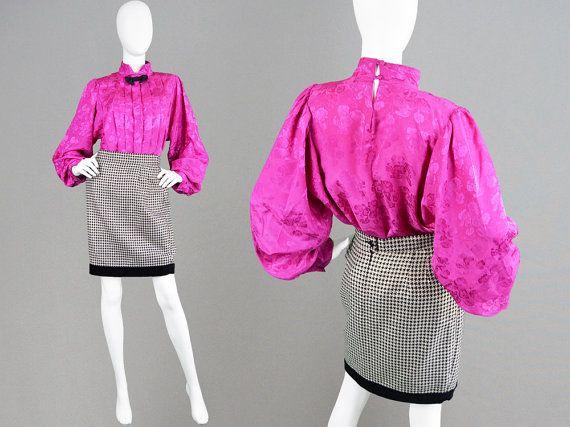 Vintage 80s Pink Blouse Fuschia Pink Satin Blouse by ZeusVintage ...