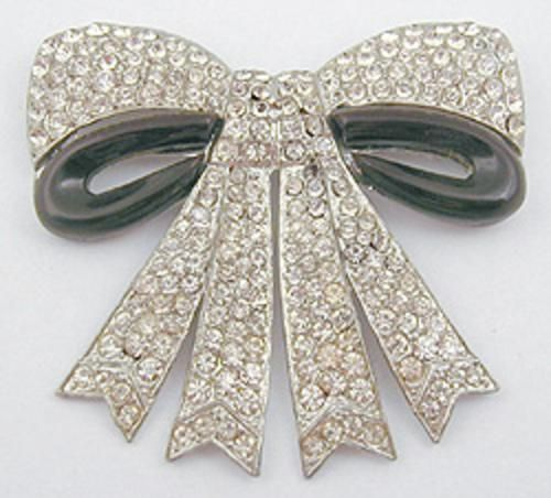 Rhinestone & Bakelite Bow Brooch - Garden Party Collection Vintage Jewelry