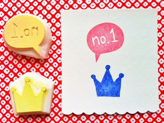 hand carved rubber stamp - king's crown - queen's crown - number one - handmade - set of 2pcs. $8.00, via Etsy.