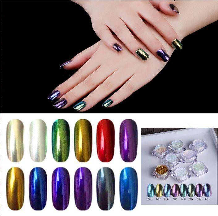 All Colors Shinning Mirror Glitter Effect Powder Nail Art Sequins ...