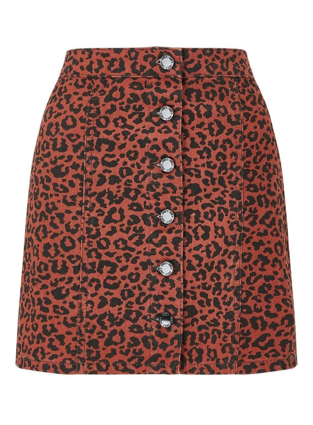 34dcaa41a9 Leopard Print Denim Skirt - Colour of the Season - Clothing - Miss Selfridge