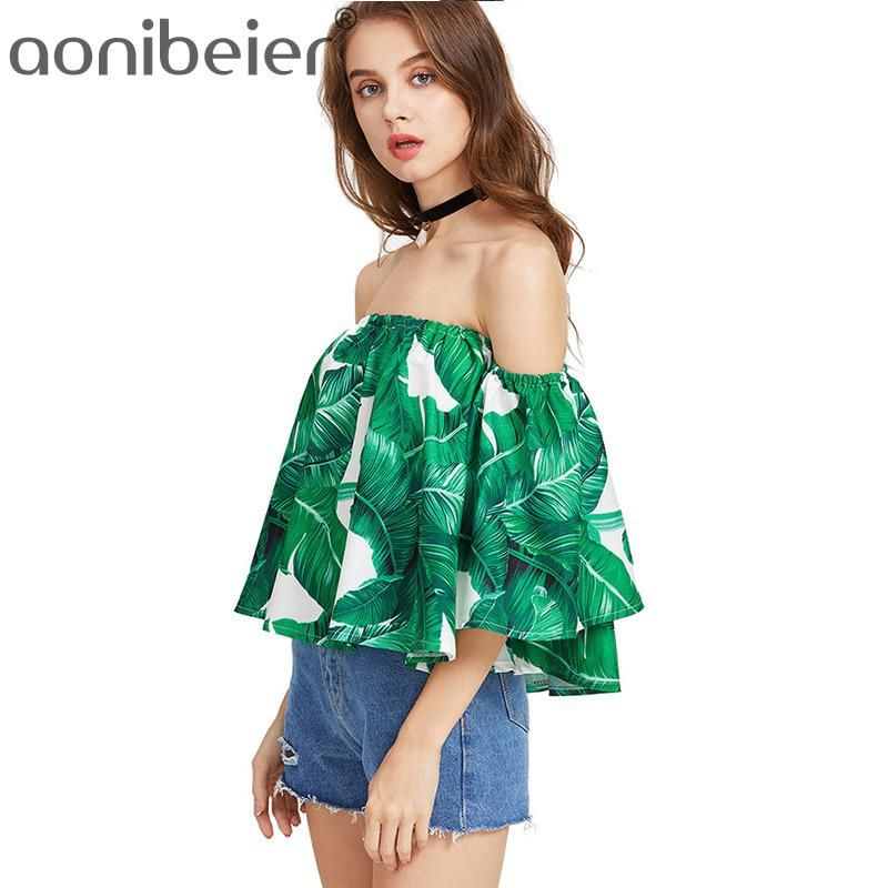 e2d23d55c59 Aonibeier Leaf Printed Crop Tops Women Flare Sleeve Chiffon T-Shirts High  Street Loose Ladies Off Shoulder Tee. Yesterday s price  US  20.18 (17.68  EUR).