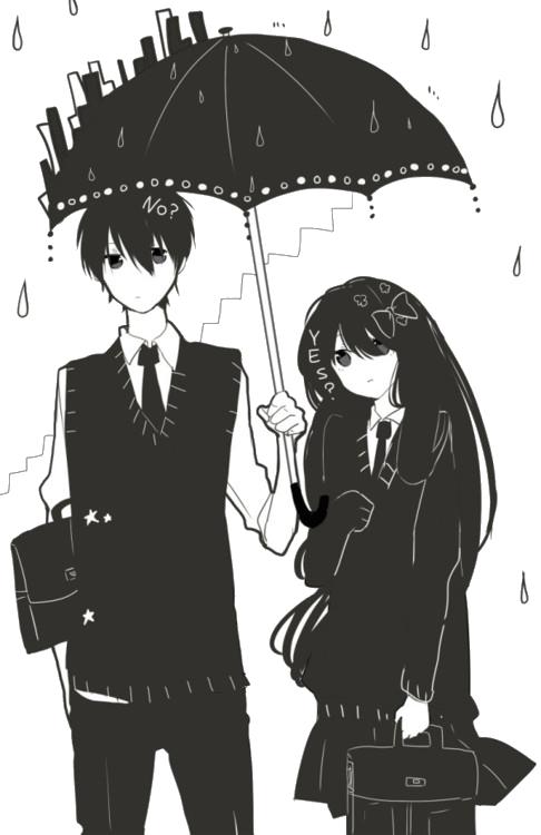 Manga couple. .anime couple. . unbrella..black and white
