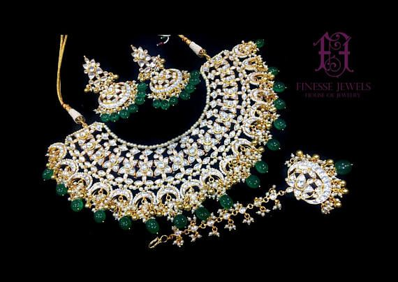 Indian Bridal Women Green Stone Necklace Earring Maang Tikka Pakistani Jewelry Beautiful In Colour Fashion Jewelry