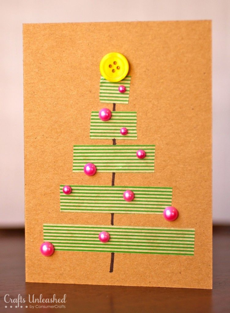 Christmas Cards To Make Ideas Part - 31: Christmas Card Ideas: Washi Tape Tree