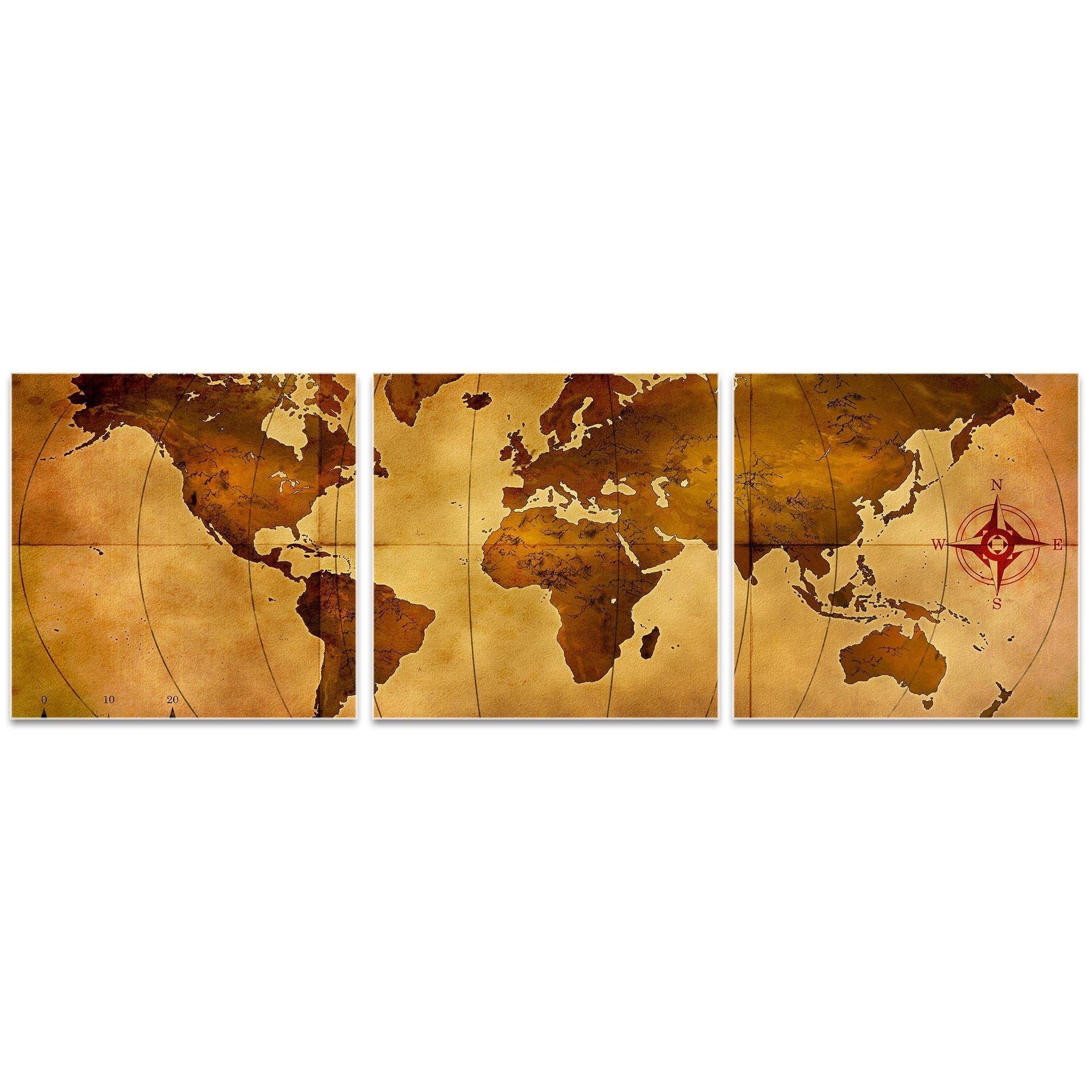 Alan rodriguez uold world map triptych largeu world map art on metal