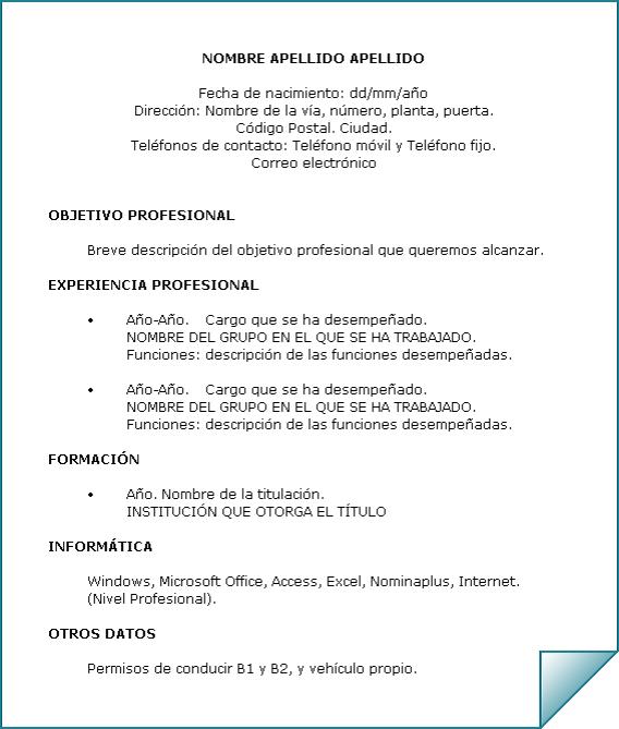 Objetivo Laboral Modelo De Curriculum Vitae Modelos De