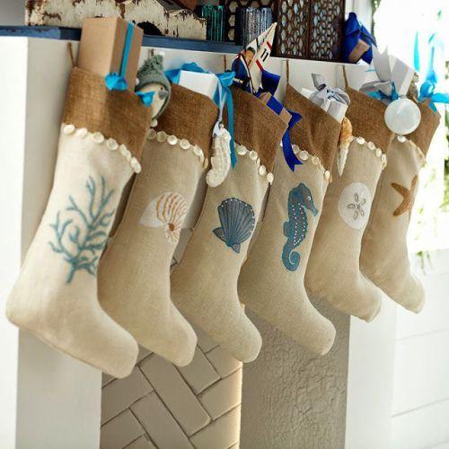 Coastal Christmas Stockings  Pinterest Coastal christmas - coastal christmas decorations