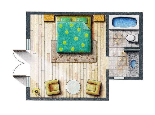 Floor plan rendering floors exercise and shadows for Rendered floor plan
