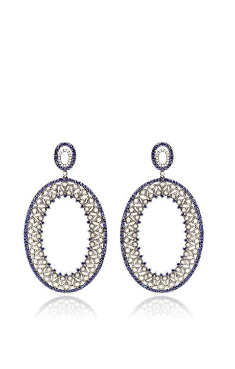 Diamond And Sapphire Earrings by Bochic -