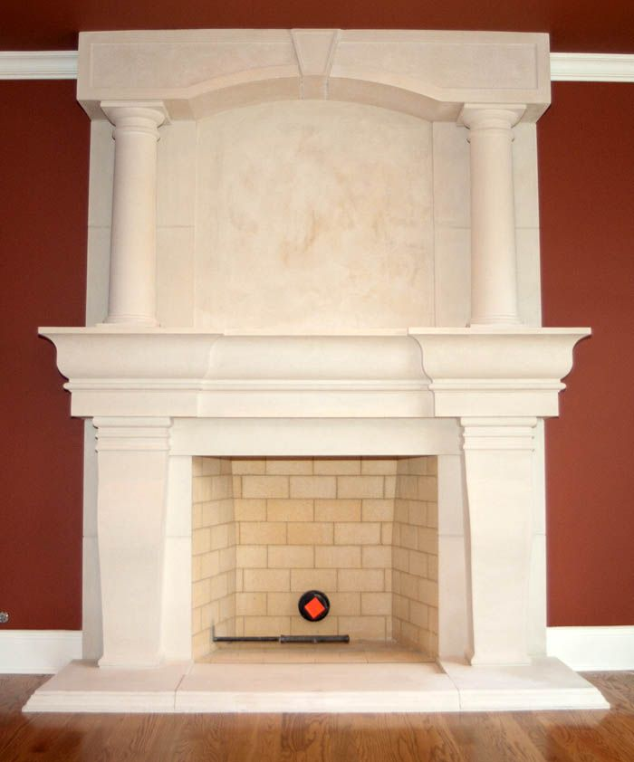 Overmantels hand carved from marble, travertine, or limestone. Cast stone  overmantel fireplaces. Custom made-to-order upper mantel fireplaces. - Atlanta Overmantel Fireplace Cast Stone Cast Stone Mantle
