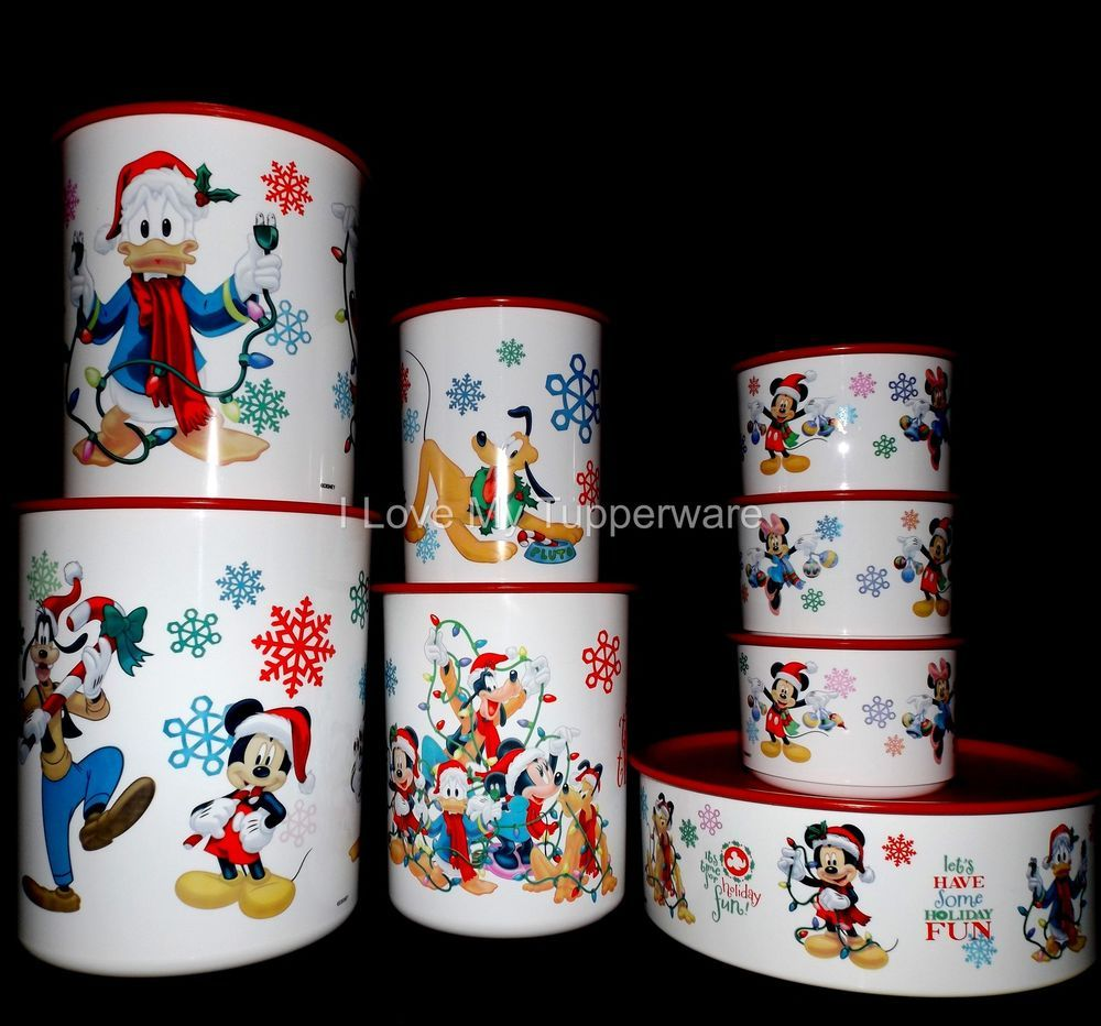 Tupperware 8 pc Disney Mickey Mouse Holiday Christmas Canisters Set