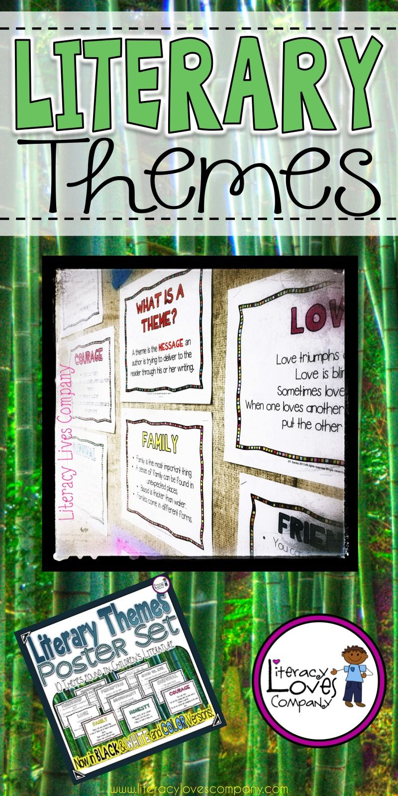 Literary Themes For The Elementary Classroom Poster Set Great For Teaching Themes And As A Classroom Dis Literature Posters Teaching Themes Classroom Posters