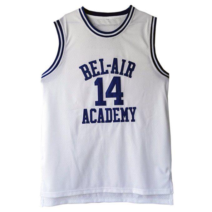 MOLPE Men s Will Smith  14 Bel Air Academy Basketball Jersey S-XXXL White ( 32c659cc9