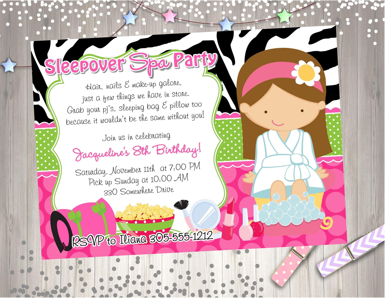 Party Invitation Invite Spa Sleepover