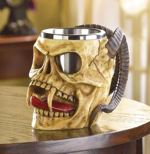 'Amazing Demon skull tankard, washable steel cup' is going up for auction at  5pm Thu, Mar 21 with a starting bid of $15.