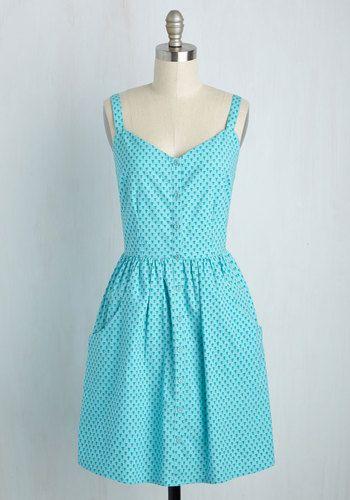 B&B Delightful Dress by Mata Traders - Blue, Print, Casual, A-line, Sleeveless, Summer, Woven, Better, Mid-length, Cotton, Sundress, Pockets