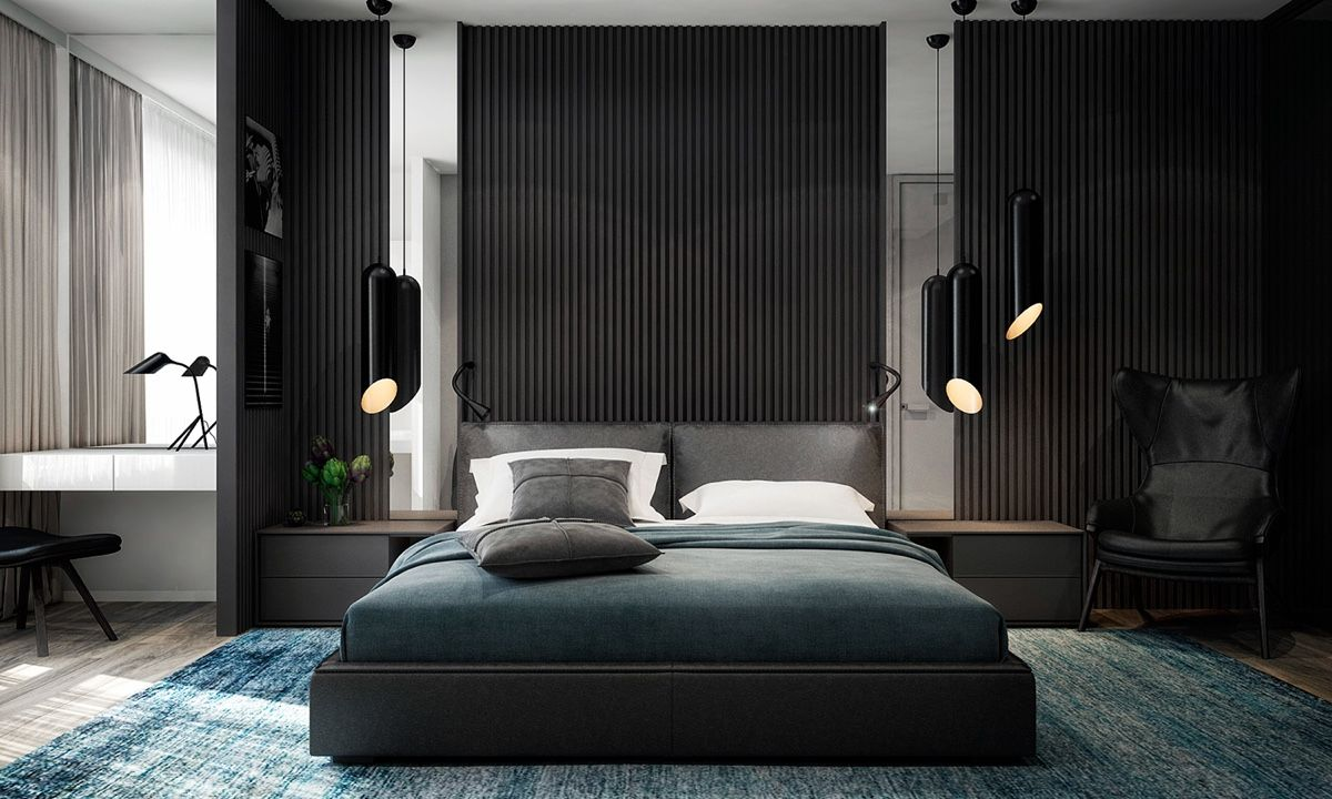 Black cylindrical lights add a finishing touch. https://www ... on black bedroom dancing, black modern bedroom, black bedroom painting, black and white bedrooms, black bedroom paint, black bathroom, black bedroom design ideas, black bedroom inspiration, black and teal bedroom ideas, black bedroom decoration, black bedroom books, black bedroom glass, black bedroom flooring, black bedroom art, black bedroom curtains, black and grey bedroom, black bedroom doors, black bedroom sets, black gray and yellow bedroom, black bedroom dressers,
