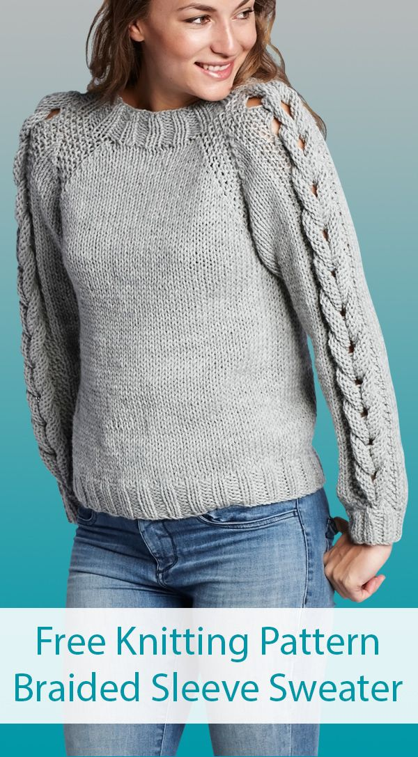 Photo of Free Knitting Pattern for Braided Sleeve Sweater