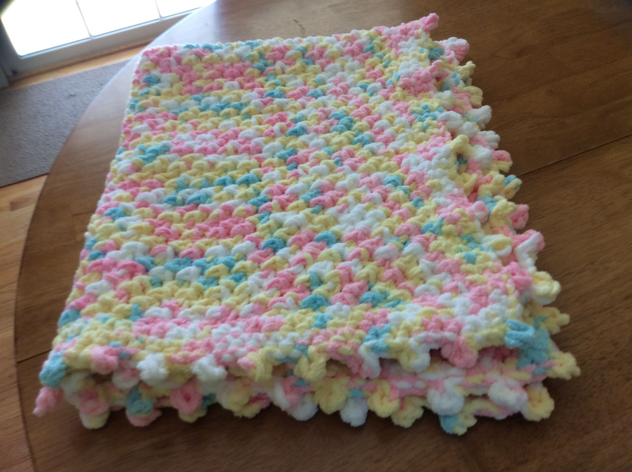 Yellow, Pink, White, Blue; Bulky Yarn with Picot Edge Crochet Baby ...