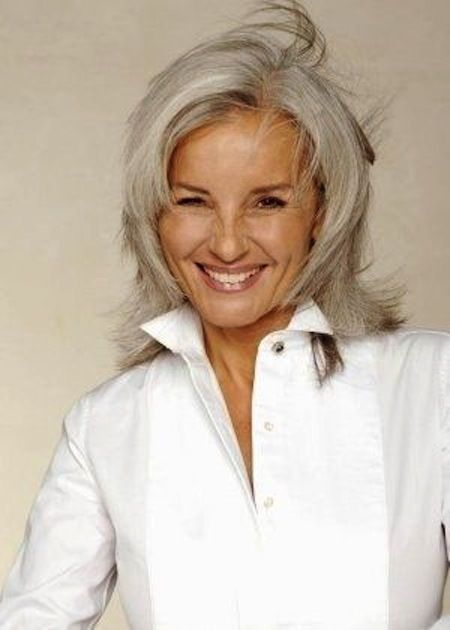 women with gray hair | 2015 Best Medium Length Haircuts and Styles ...