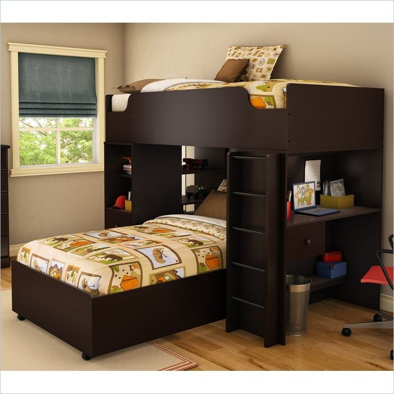 Modern Twin Over L Shaped Bunk Bed With Desk Loft