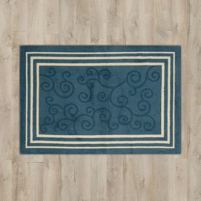 "Charlton Home Poquonock Navy ""Scroll"" Area Rug"