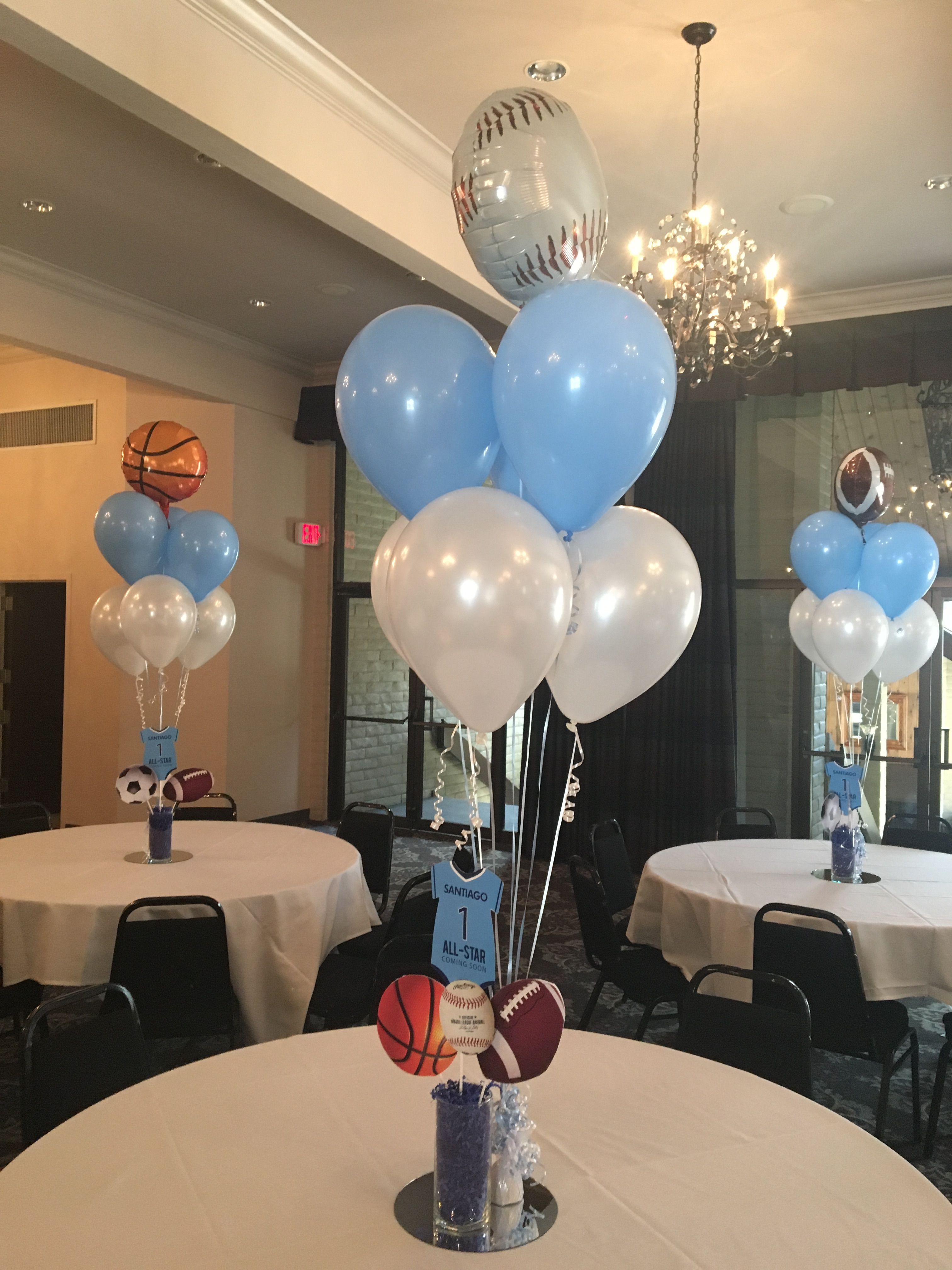 Sports Theme Baby Shower · Baby shower balloons Boy Babyshower  Centerpieces, Baby Boy Babyshower Themes, Baby Shower Favors Boy