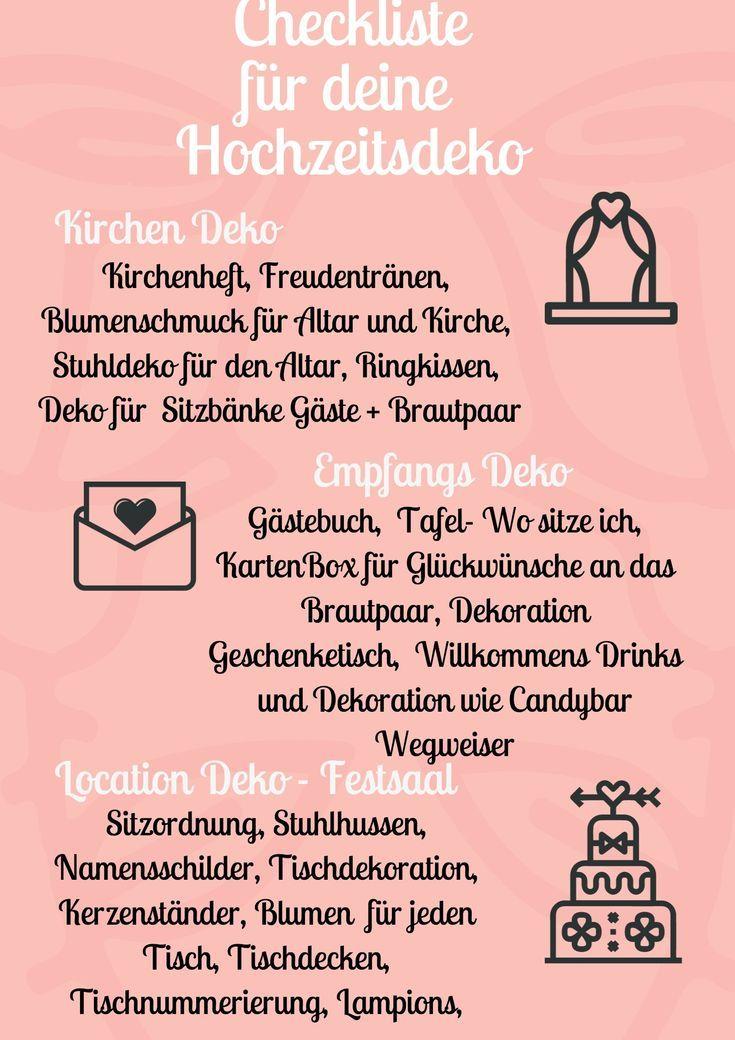 Checkliste Hochzeit | Dekoration