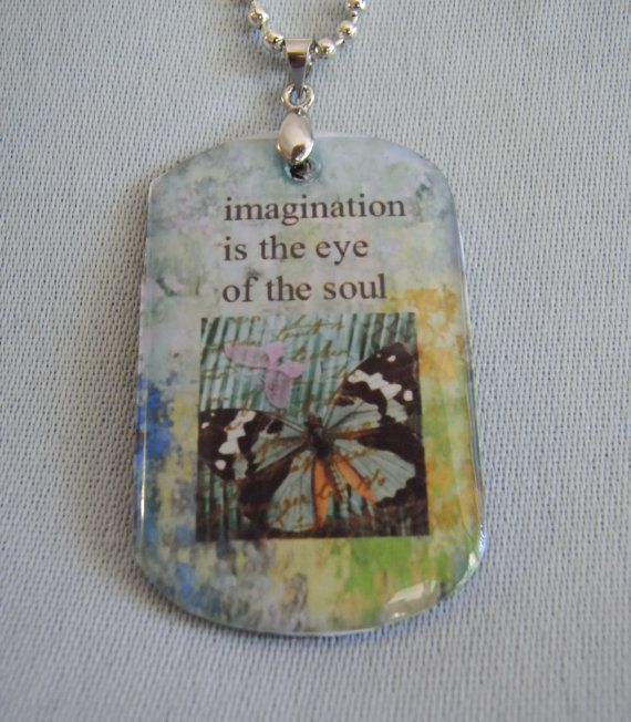 quote pendant imagination butterfly altered art by Starzyia, $18.00