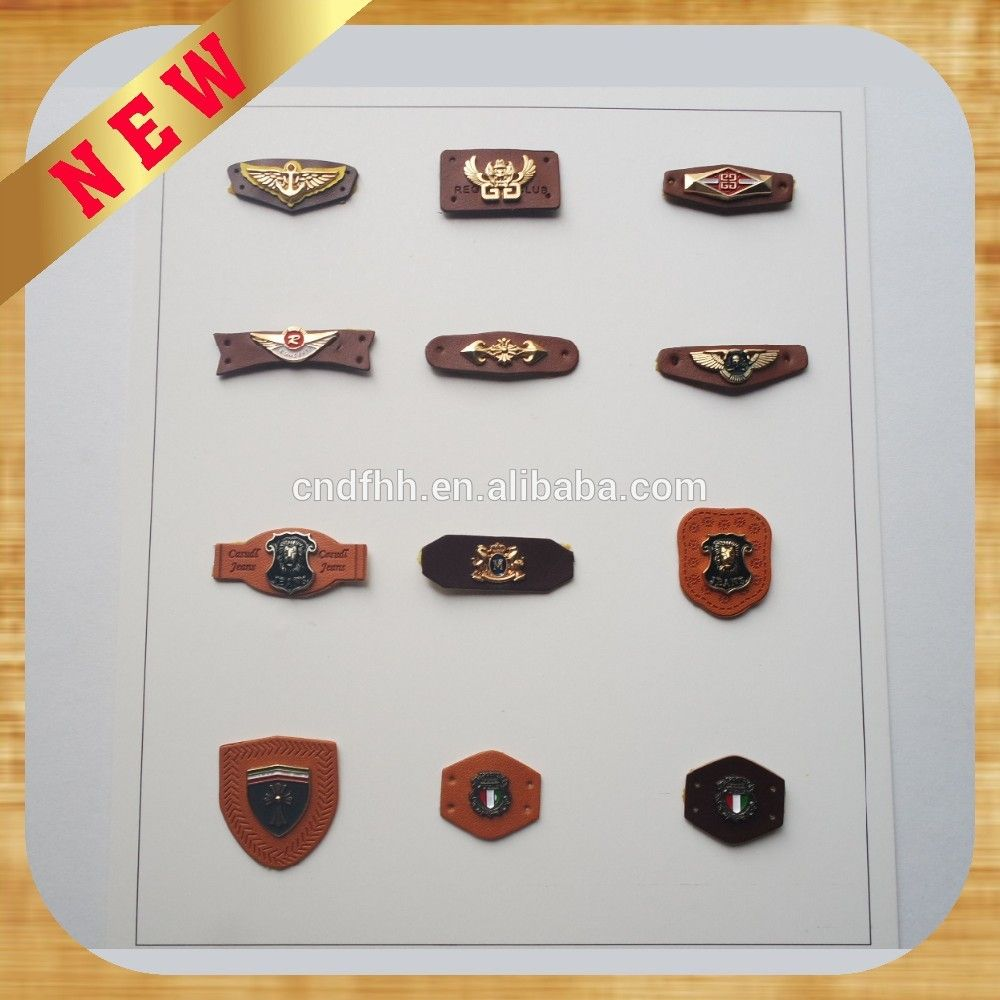 High Quality Self Adhesive Leather Patch,Debossed Pu/genuine Leather Label,Leather  Patches