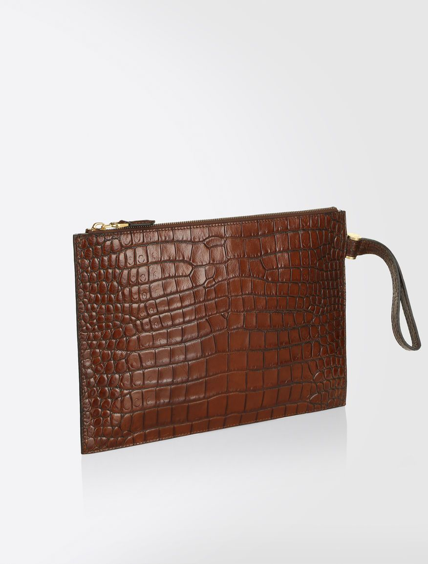 2f5df3f6fb Max Mara BUS16L tobacco: Pouch in crocodile-print leather. | Bags ...