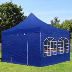 Photo of 4×4 m Faltpavillon Professional Alu 40 mm, Seitenteile mit Rundbogenfenstern, blau Faltzelt, Klappze