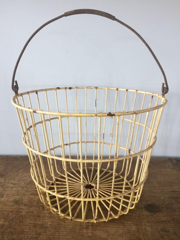 Vintage Metal Wire Basket, Yellow Wire Egg Basket, Rustic Basket ...