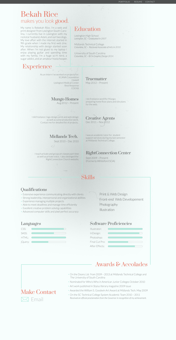 Love the use of asymmetrical headings with bright red against the subdued grey and black, as well as the great serif headings. Creative resume style, creative cv style, creative curriculum vitae style!     Creative resume style, creative cv style, creative curriculum vitae style!   Self Promotional Project by Rebekah Rice, via Behance