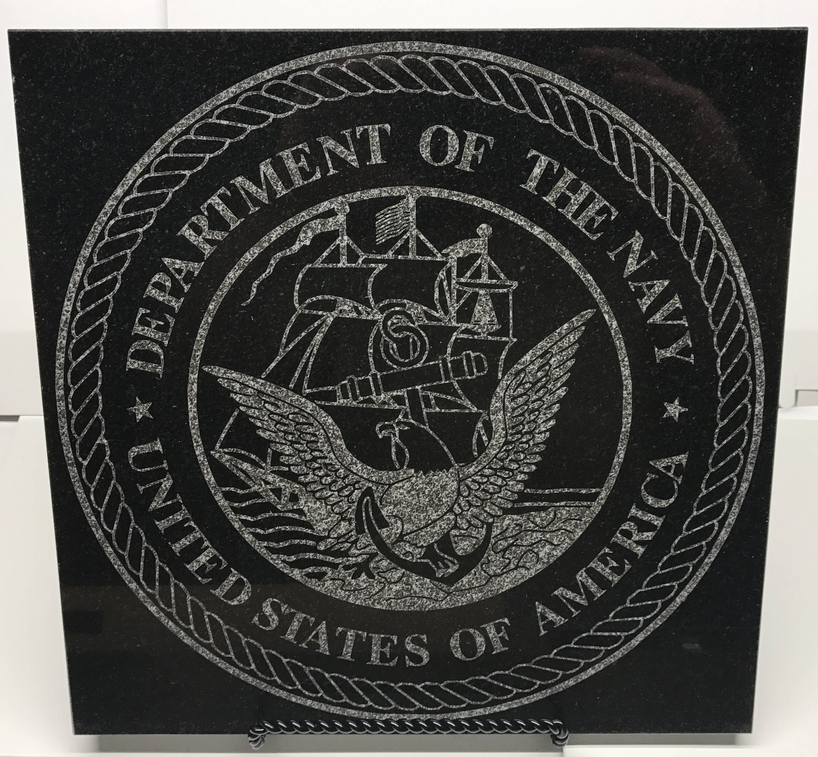 12 X 12 Black Granite Tile Laser Engraved With The Us Navy Seal By Americanlaserworks On Etsy Black Granite Tile Black Granite Granite Tile