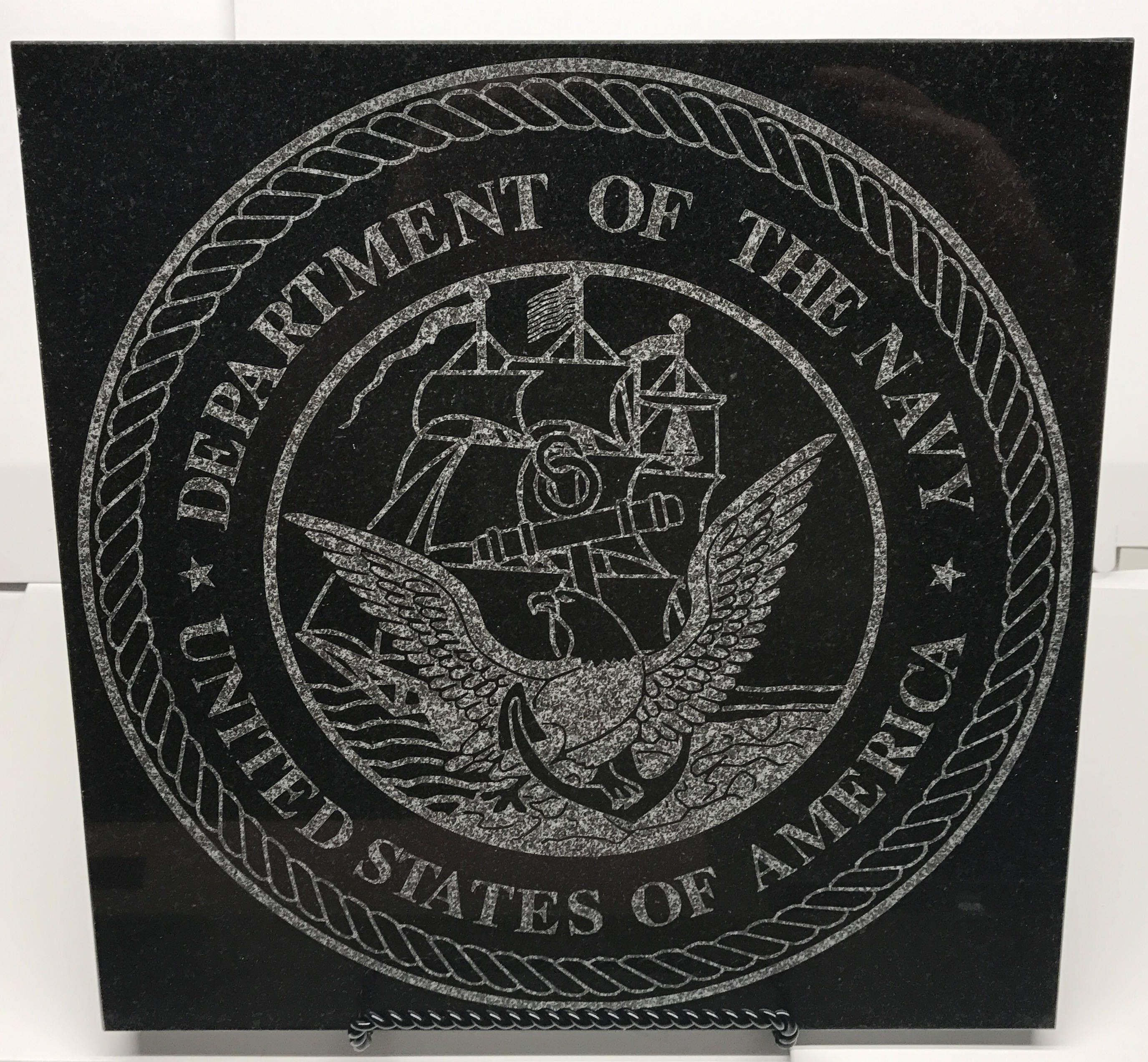 black granite tile laser engraved