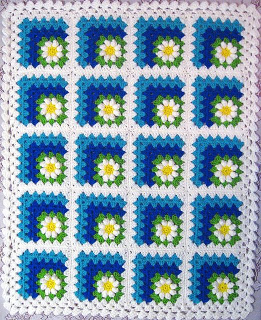Ravelry: jewlbal3\'s Mitered Summer Daisy Baby Afghan | Knit ...