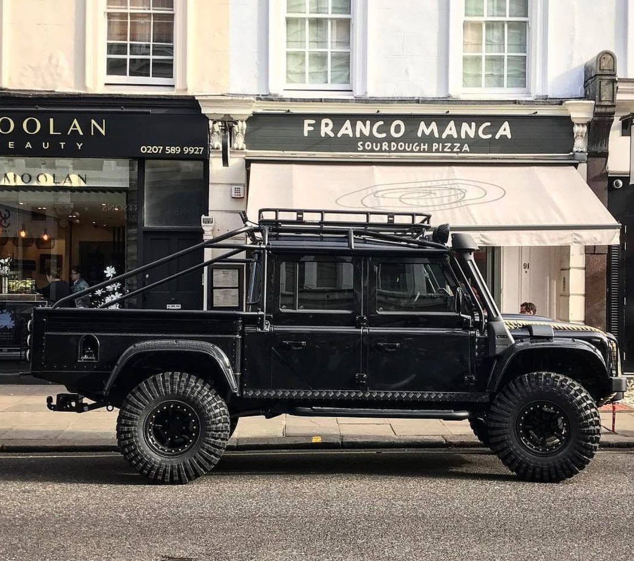 Carbon Black. @tweakedautomotive Land Rover Defender 130