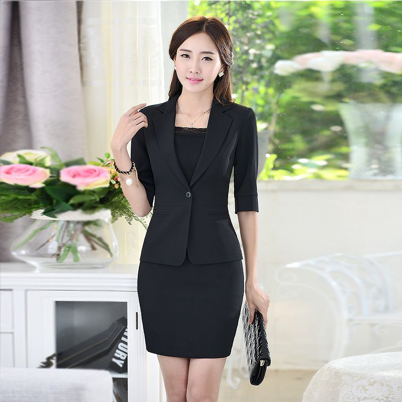 Women-Business-suits-Formal-Office-Suit-Work-Apricot-Black-Women ...