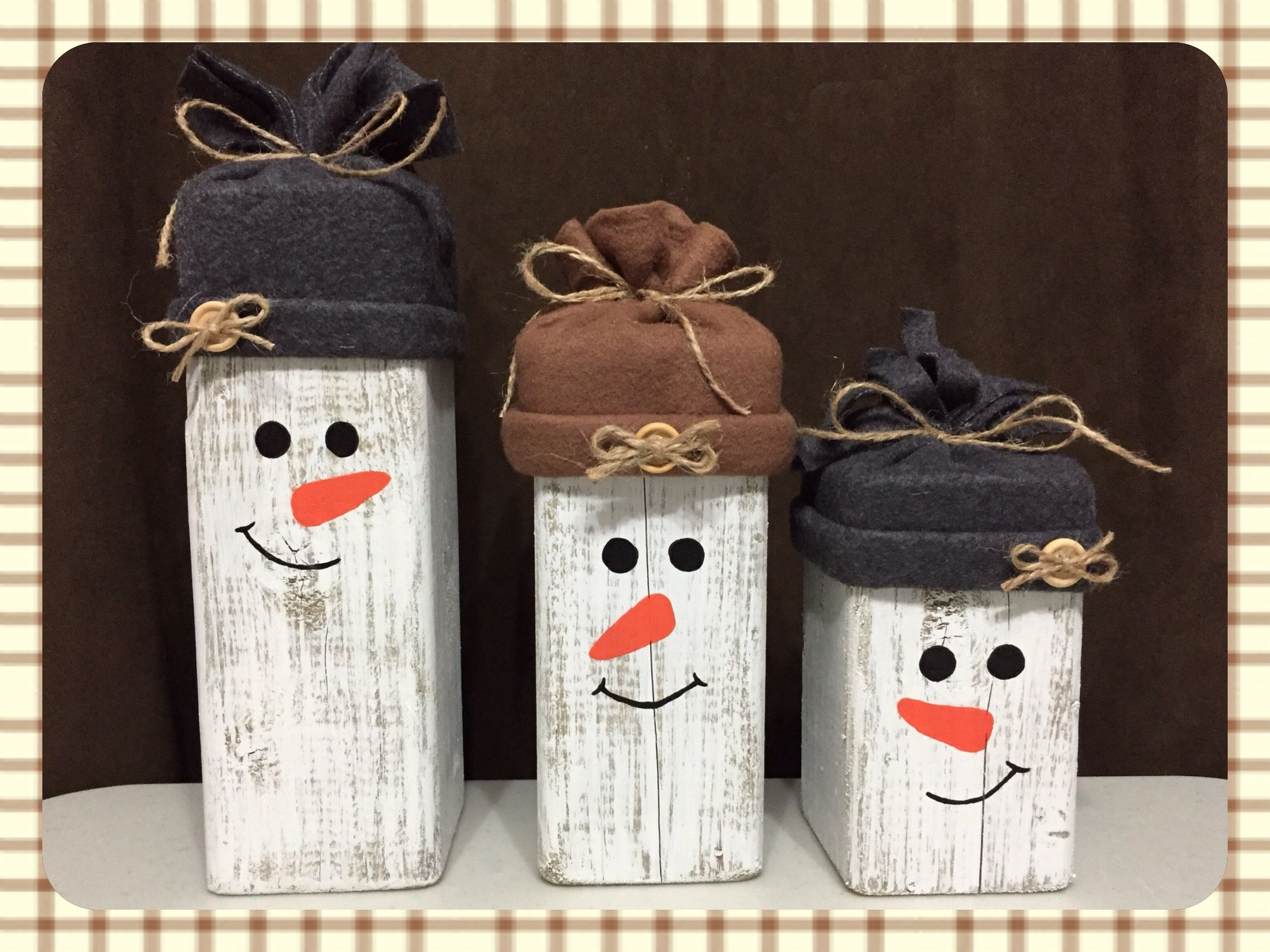 4x4 Wood Snowmen Christmas Wood Crafts Easy Winter Crafts Christmas Crafts