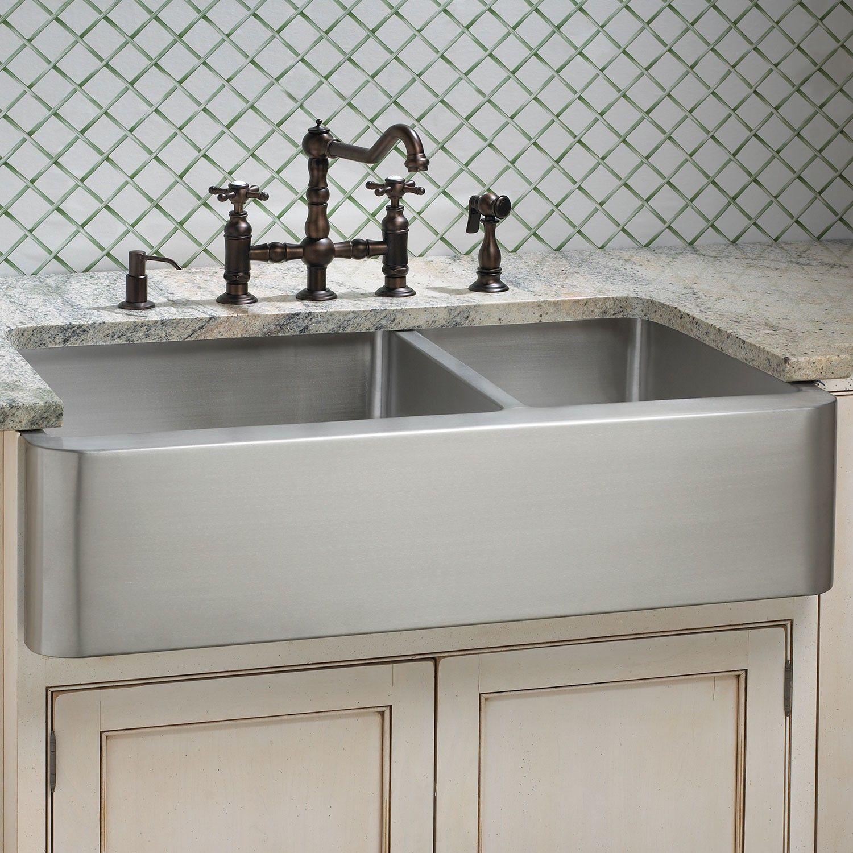 Hazelton 60 40 Offset Double Bowl Stainless Steel Farmhouse Sink Signature Hardware 846 95