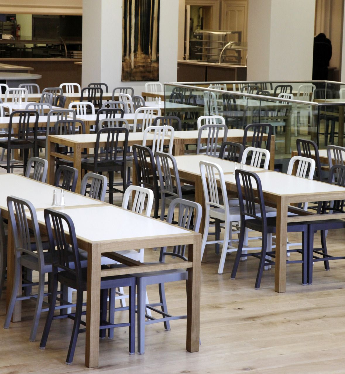 Emeco 111 Navy Chair Designed By Conran Architects, The New Dining Hall At  Bryanston School In Dorset UK #Emeco, #111 Navy Chair