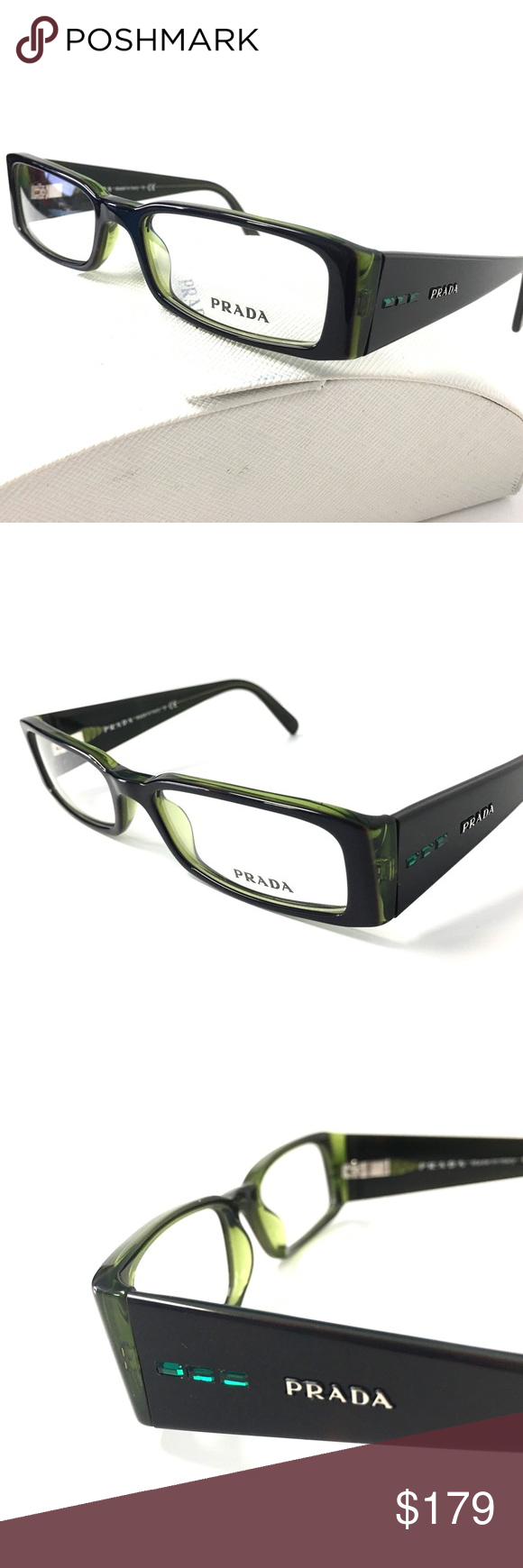 e65d1ee8d0d3 PRADA Eyeglasses Dark Tortoise PRADA Eyeglasses Dark Tortoise with green  Crystals HARD TO FIND DISCONTINUED FRAME!!!!!!!! Size: 49-16-135✋️  Guarantee 100% ...