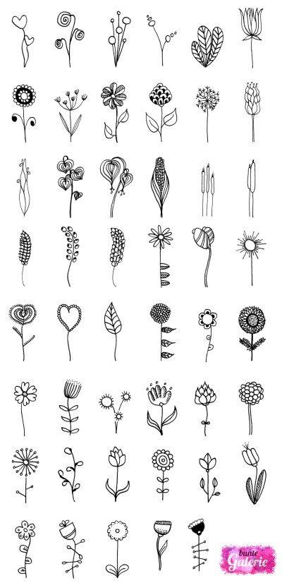 Doodle Blumen zur Inspiration bei Deinen eigenen