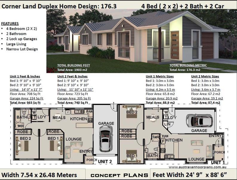 Narrow Corner Duplex Plans 176 3 M2 Or 1903 Ft2 4 Bed Duplex Design Concept Duplex Plans For Sale In 2021 Duplex Plans Duplex Design Duplex Floor Plans