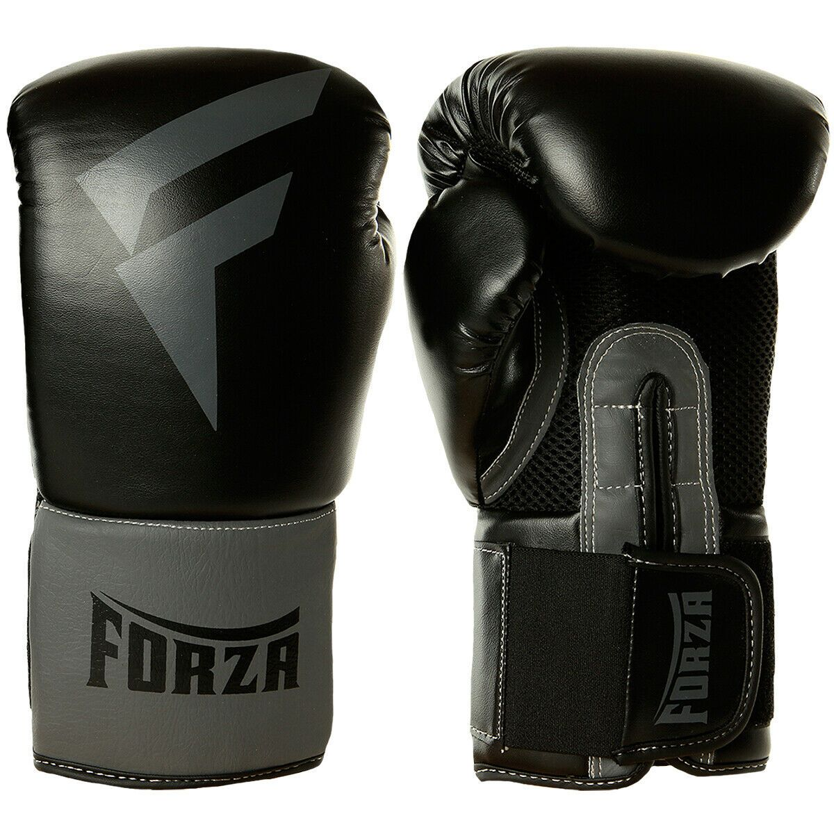 Forza Sports Vinyl Boxing Training Gloves Black Gray In 2020 Boxing Training Gloves Training Gloves Boxing Training