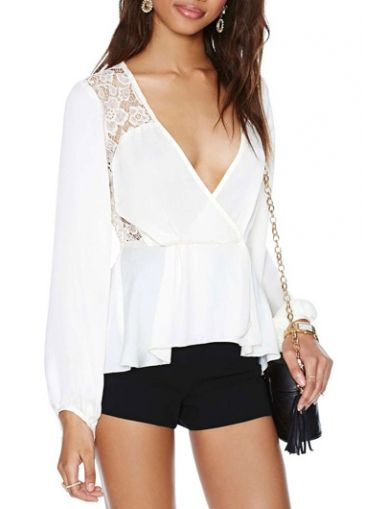 Chic V Neck Long Sleeve Lace Splicing White T Shirt on sale only US$16.32 now, buy cheap Chic V Neck Long Sleeve Lace Splicing White T Shirt at martofchina.com