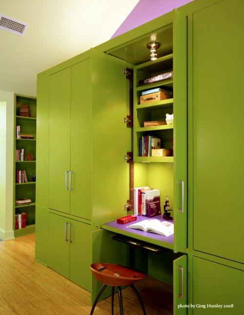 Do It Yourself Home Design: Brilliant For Hide Away Desks! Each Cabinet Houses Desk