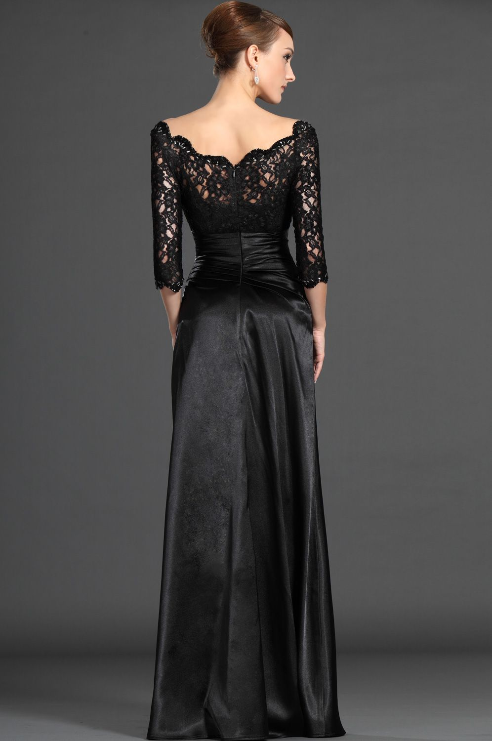 Edressit stylish black lace sleeves mother of the bride dress